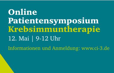 Titelbild mit Headline des Ci3 CIMT Patientensymposium Krebsimmuntherapie am 12. Mai